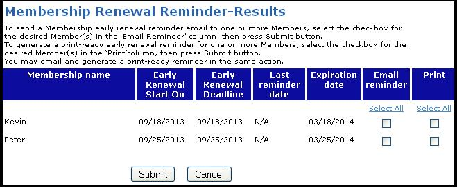 2 renewal reminders the membership renewal reminder results screen would look similar to the one displayed below thecheapjerseys Images